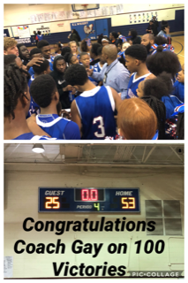 Top Image is Coach Gay addressing players after the victory against Blythewood. Bottom image is a picture of the scoreboard showing the final score of 53-25.