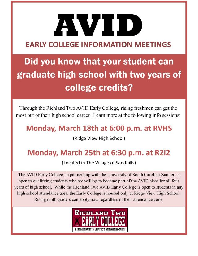 2019 AVID Early College Information Nights Flyer