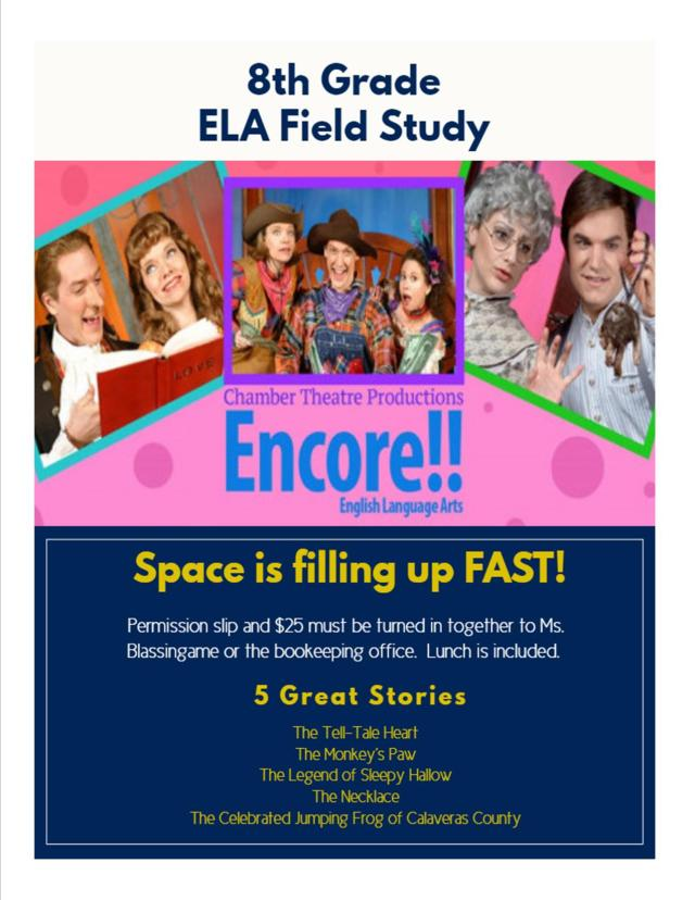8th Grade ELA Trip